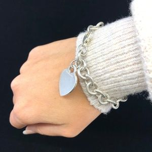 TC174 Sterling Silver Heart Tag Chain Bracelet